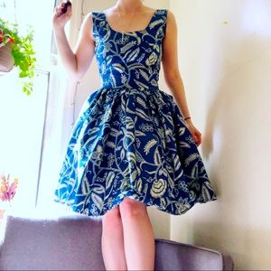 Handmade blue and white floral a-line dress